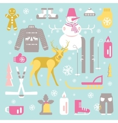 Unique winter icons vector
