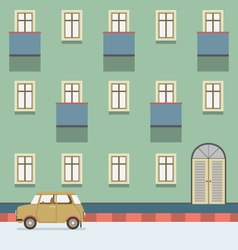 Vintage Building With A Car Parking At The Street vector image