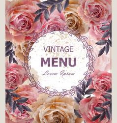 vintage roses background floral card retro vector image