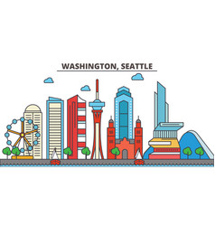 washington seattlecity skyline architecture vector image