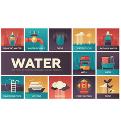 Water concept - set of flat design infographics vector