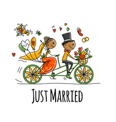 wedding card design bride and groom riding on vector image