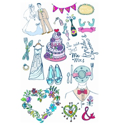 wedding doodle color set vector image