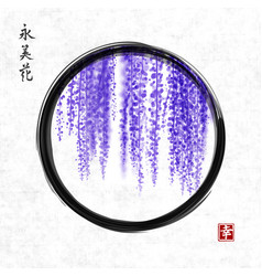 Wisteria hand drawn with ink in black enso zen vector
