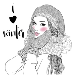 young beautiful woman with mittens vector image