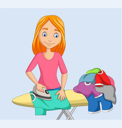 Young woman ironing clothes vector