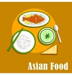 Asian dinner dishes of thai cuisine vector image