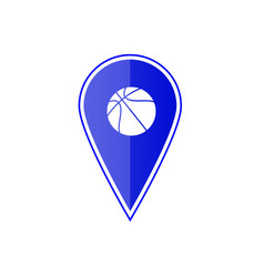 blue map pointer with basketball vector image vector image