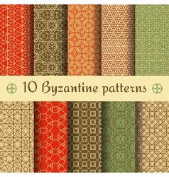Byzantine seamless patterns set vector image