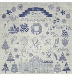 Hand Drawn Christmas Doodle Icons on Notebook vector image vector image