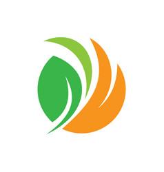 leaf globe sphere colored logo image vector image vector image