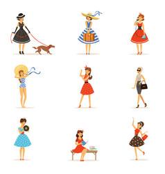 Retro girls characters set beautiful young women vector