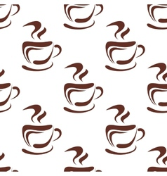 Seamless pattern with steaming coffee cups vector image vector image