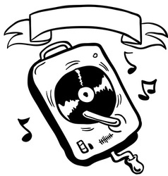 simple black and white record player with banner vector image