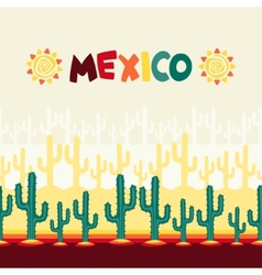 Mexican seamless pattern with cactus in native vector image