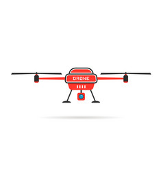 red quadrocopter with shadow vector image