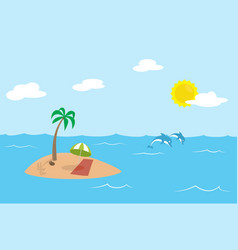 tropic island with palm and parasol in the middle vector image