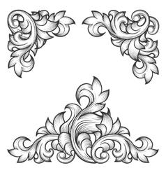 Baroque leaf frame swirl decorative design element vector image vector image
