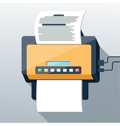Fax icon in flat design long shadow style vector image