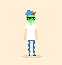 sick shivering young nerd with green face cartoon vector image