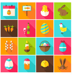 Spring easter colorful icons vector