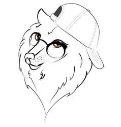 wolf in baseball cap vector image