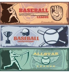 Baseball Tournaments Horizontal Banners Set vector image vector image