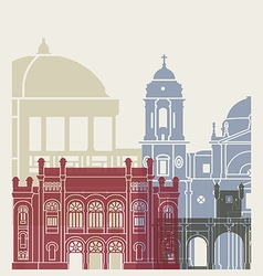 Cadiz skyline poster vector image vector image