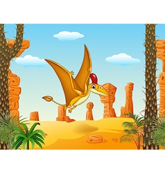 Cartoon funny pterodactyl flying with prehistoric vector