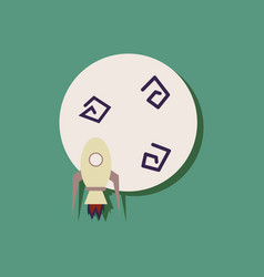 Flat icon design collection space rocket and vector