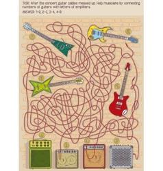 Guitar maze game vector image