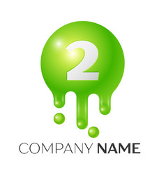 number two splash logo green dots and bubbles vector image vector image