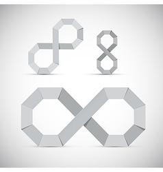 Paper infinity symbol set on grey background vector