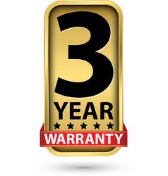 3 year warranty golden label vector