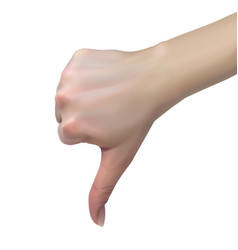 3d female hand shows dislike with thumbs down vector