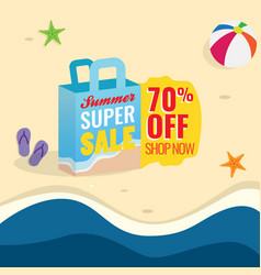 70 off summer super sale banner promotion vector