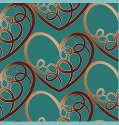 a seamless pattern featuring repeating hearts vector image