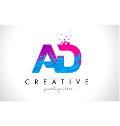 Ad a d letter logo with shattered broken blue vector