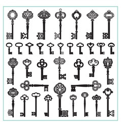 Antique keys silhouettes vector