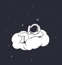 Astronaut lies on the cloud vector