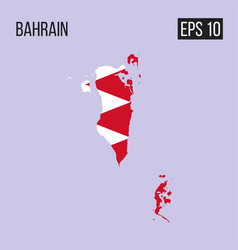 bahrain map border with flag eps10 vector image