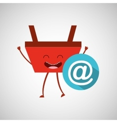 Basket red commerce email mail icon vector