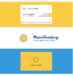 beautiful sun logo and business card vertical vector image