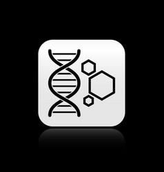 Black genetic engineering icon isolated on black vector