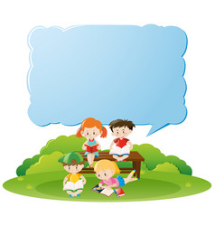 Border template with kids reading books in park vector