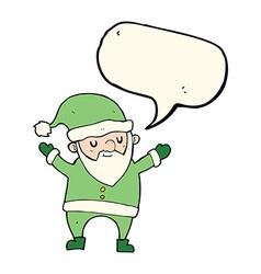 Cartoon dancing santa with speech bubble vector