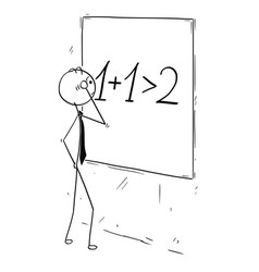 Cartoon of businessman calculating synergy on vector