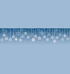 christmas with hanging snowflakes vector image