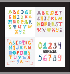 Collection three funny alphabets and set of vector