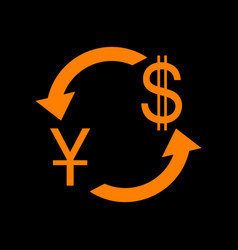 currency exchange sign china yuan and us dollar vector image